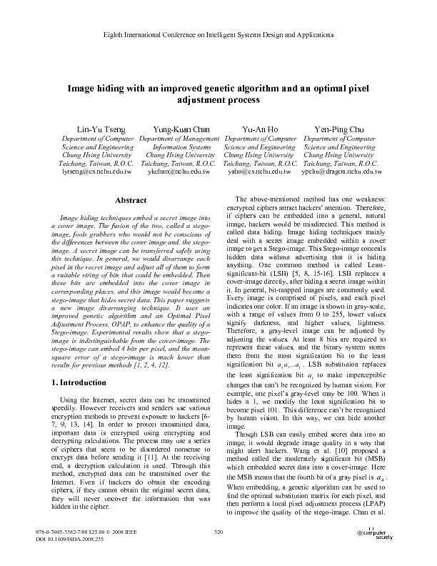 Image hiding with an improved genetic algorithm and an optimal pixel adjustment process