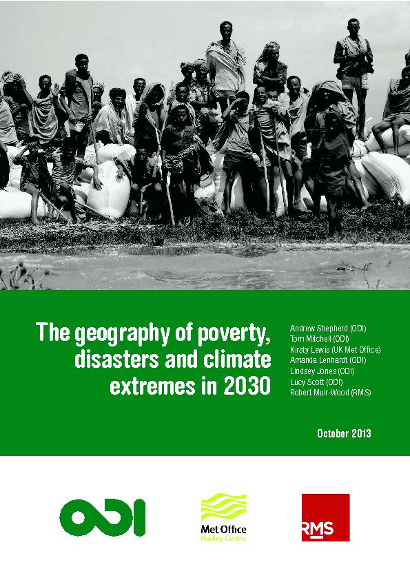 The geography of poverty disasters and climate extremes in 2030