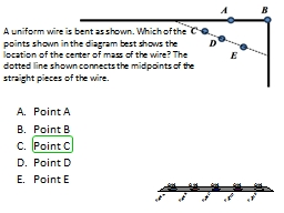 A uniform wire is bent as shown. Which of the points shown