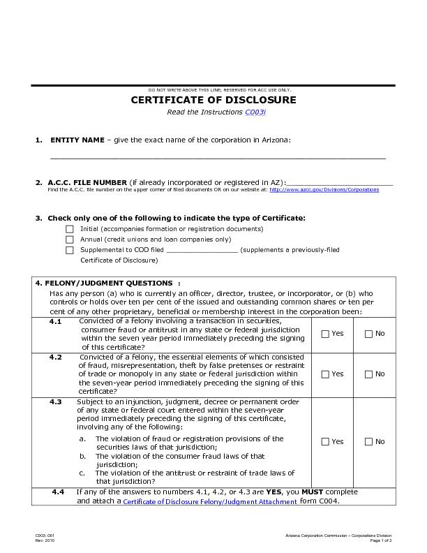 Certificate of disclosure