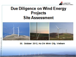 Due Diligence on Wind Energy Projects