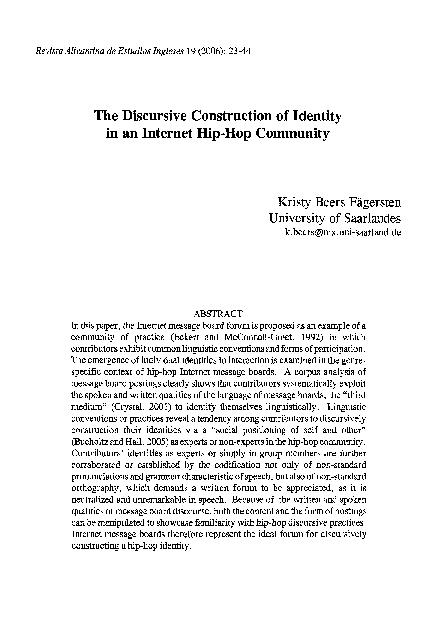 The discursive construction of identity in an internet Hip Hop community
