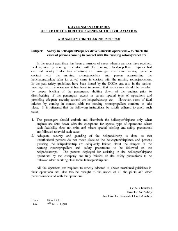 GOVERNMENT OF INDIA OFFICE OF THE DIRECTOR GENERAL CIVIL AVIATION