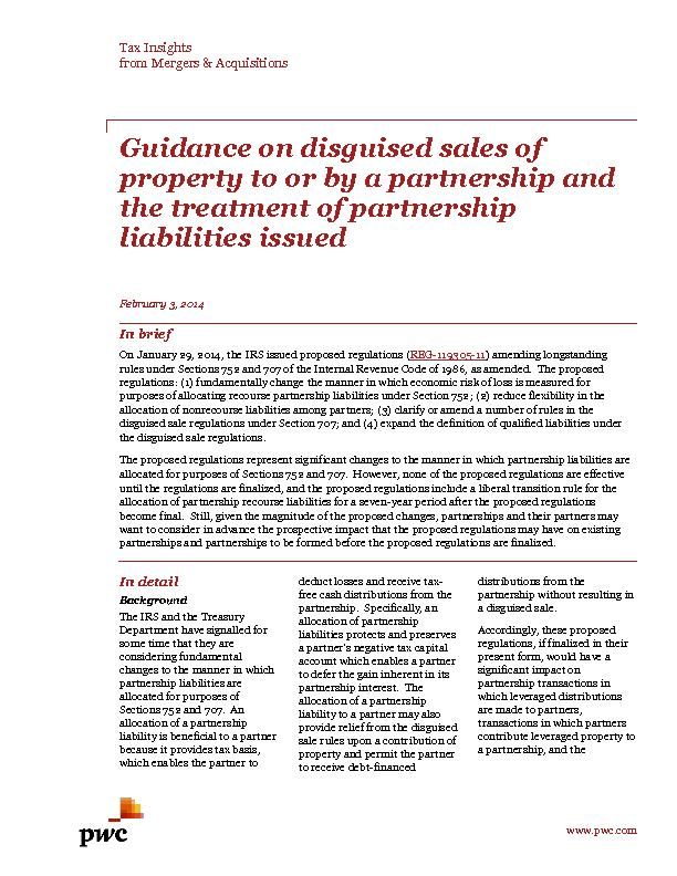 Guidance on disguised sales of property to or by a partnership and the treatment of partnership liabilities issued PowerPoint PPT Presentation