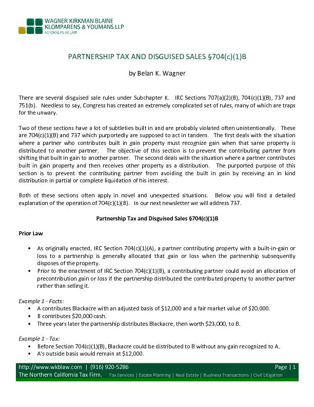 Partnership tax and disguised sales