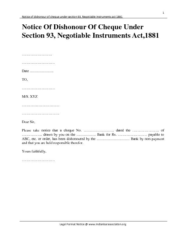 Notice of dishonour of cheque under section 93, Negotiable instruments act 1881