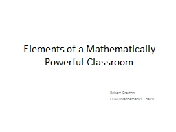 Elements of a Mathematically Powerful Classroom