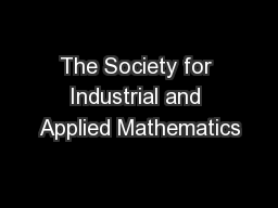 The Society for Industrial and Applied Mathematics