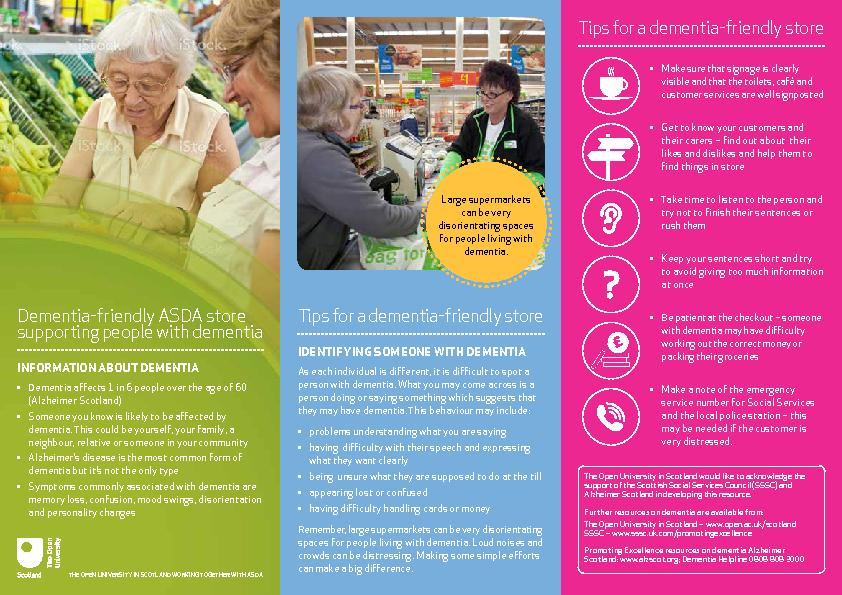 Dementia-friendly ASDA store supporting people with dementia INFORMATI