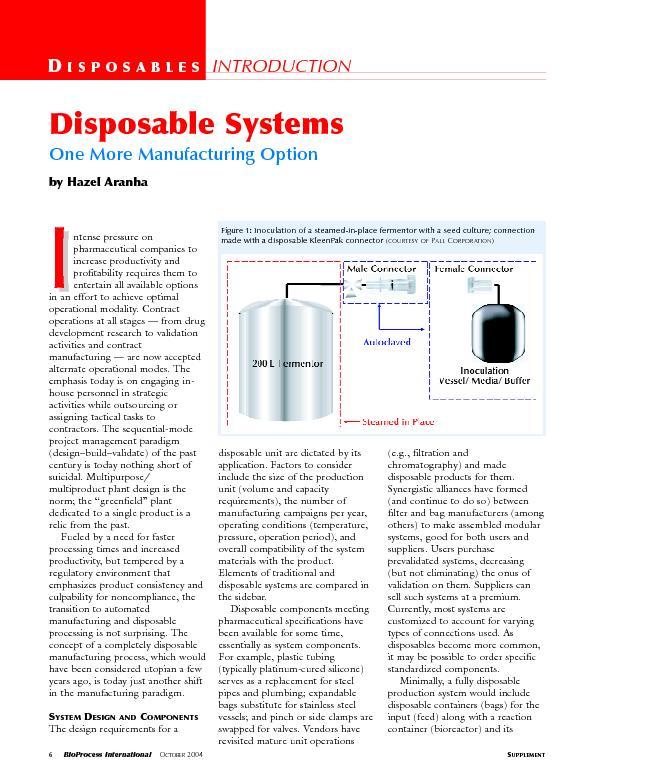 Disposable systems one more manufacturing option