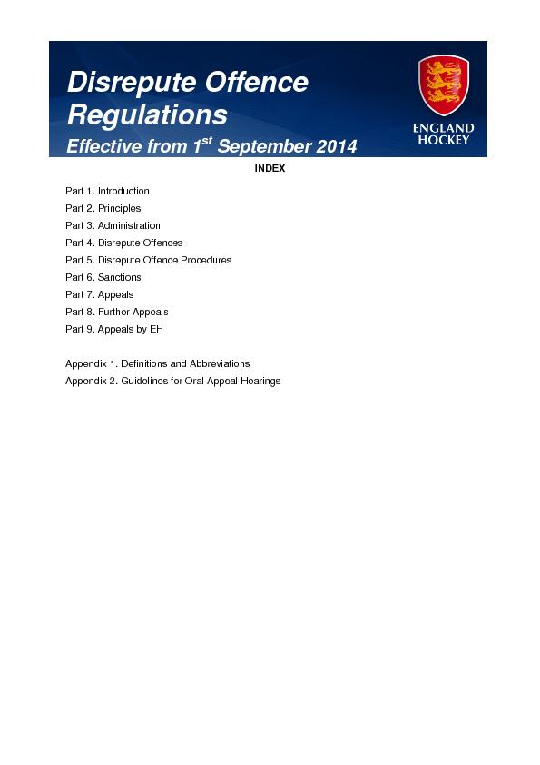 Disrepute offence regulations