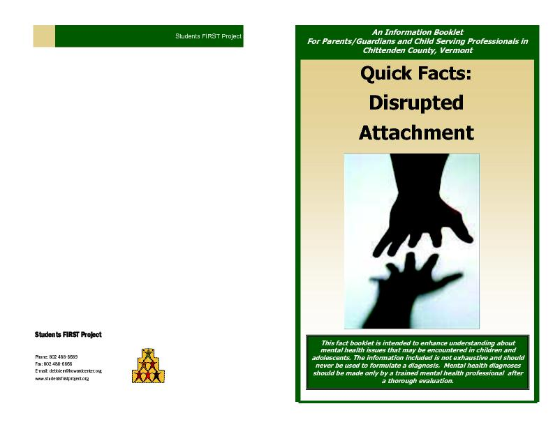 Quick facts disrupted attachment