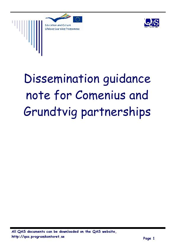Dissemination guidance note for comenius and grundtvig partnerships