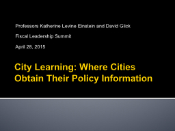 City Learning: Where Cities Obtain Their Policy Information