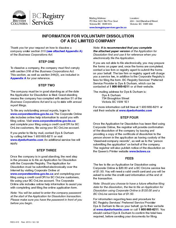INFORMATION FOR VOLUNTARY DISSOLUTION OF A BC LIMITED COMPANY(see atta