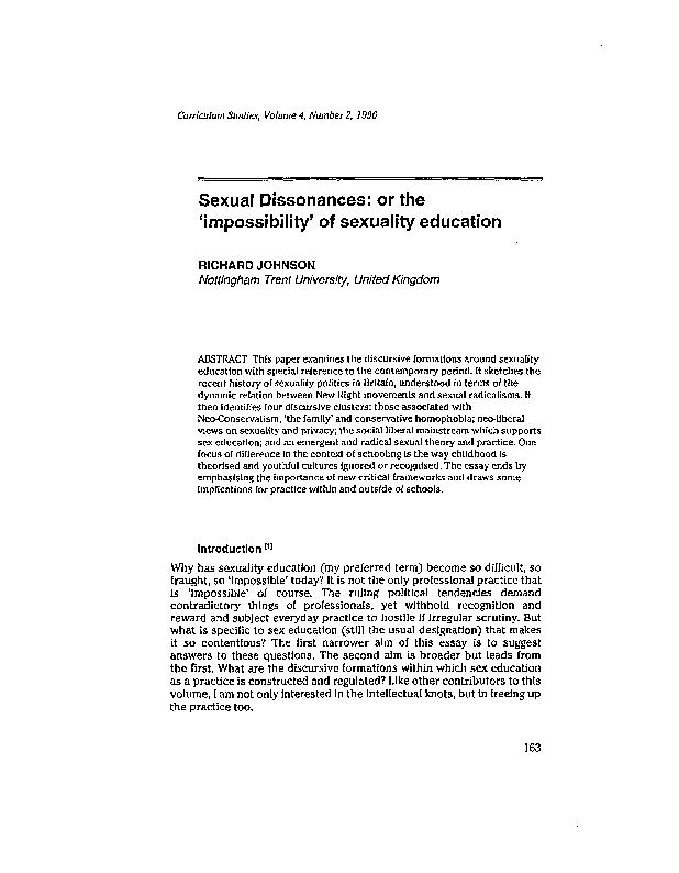 Sexual dissonances or the impossibility of sexuality education PDF document - DocSlides