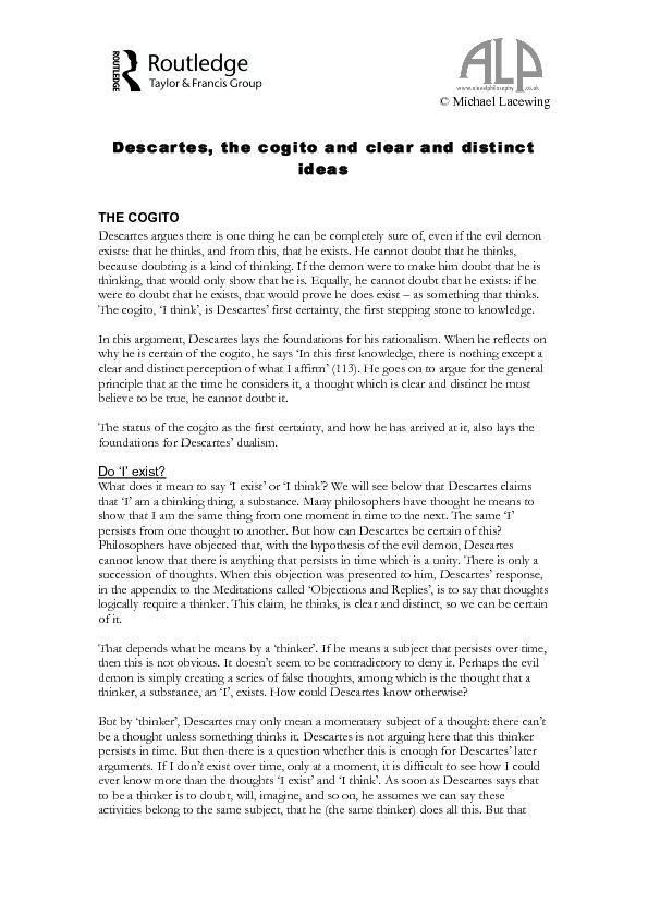 Descartes, the cogito and clear and distinct ideas
