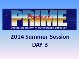 2014 Summer Session