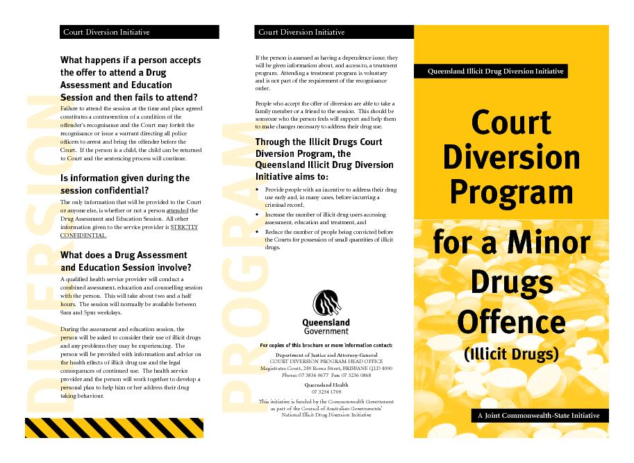 Court diversion program for a minor drugs offence