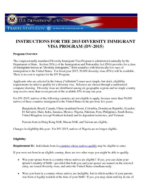 INSTRUCTIONS FOR THE 2015 DIVERSITY IMMIGRANT VISA PROGRAM