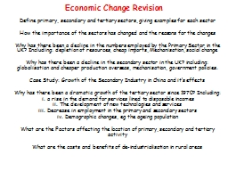 Economic Change Revision PowerPoint PPT Presentation