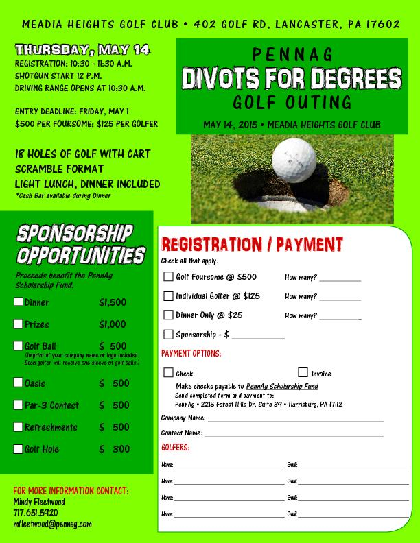 Pennag divots for degrees golf outing