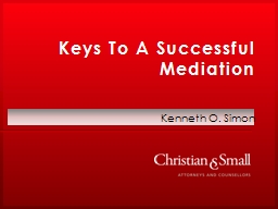 Keys To A Successful Mediation PowerPoint PPT Presentation