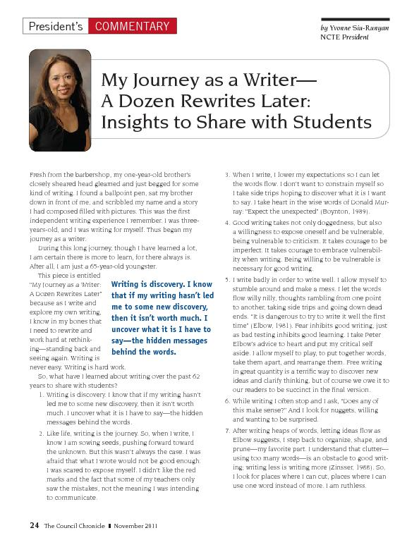 My journey as a writer a dozen rewrites later insights to share with students