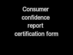 Consumer confidence report certification form