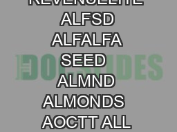 AFORG ANNUAL FORAGE  AGR ADJUSTED GROSS REVENUE  AGRL ADJUSTED GROSS REVENUELITE  ALFSD ALFALFA SEED  ALMND ALMONDS  AOCTT ALL OTHER CITRUS TREES  AOGPF ALL OTHER GRAPEFRUIT  APCTS APRICOTS  API APIC