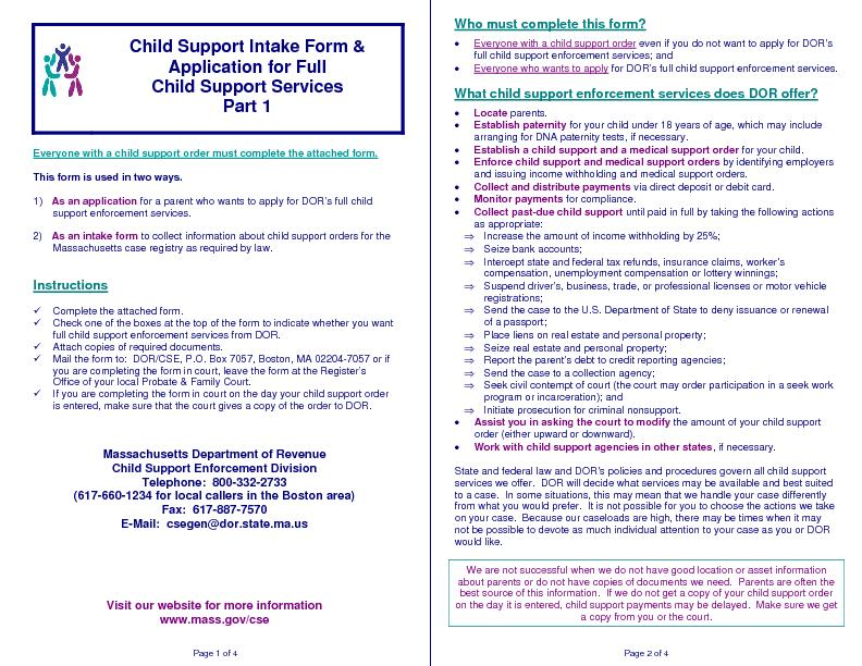 Page 1 of 4         Child Support Intake Form & Application for Full