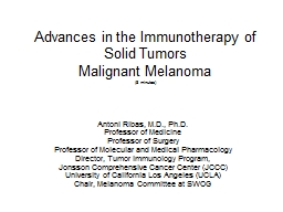 Advances in the Immunotherapy of Solid Tumors PowerPoint PPT Presentation
