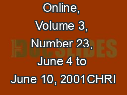 IIIM Magazine Online, Volume 3, Number 23, June 4 to June 10, 2001CHRI