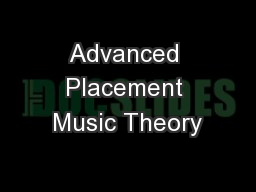 Advanced Placement Music Theory