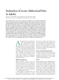 Evaluation of Acute Abdominal Pain in Adults SARAH L
