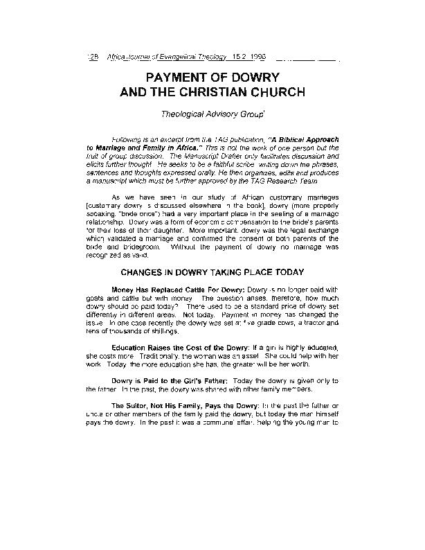 128 Afnca Journal of Evangelical Theology 15 2 1996 PAYMENT OF DOWRY A PowerPoint PPT Presentation