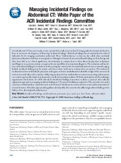 Managing Incidental Findings on Abdominal CT White Paper of the ACR Incidental Findings Committee Lincoln L