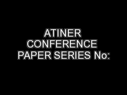 ATINER CONFERENCE PAPER SERIES No:
