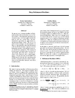 Deep Boltzmann Machines Ruslan Salakhutdinov Department of Computer Science Univ