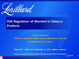 FDA Regulation of Menthol in Tobacco Products