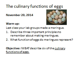 The culinary functions of eggs