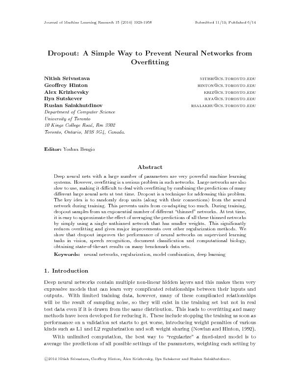 JournalofMachineLearningResearch15(2014)1929-1958Submitted11/13;Publis