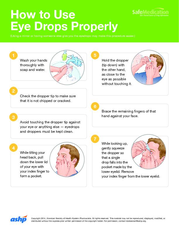 Eye Drops Properly(Using a mirror or having someone else give you the