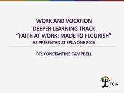 Work and vocation PowerPoint PPT Presentation
