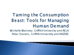 Taming the Consumption Beast: Tools for Managing Human Dema