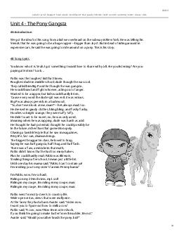 Unit 4 - The Pony Gangsta4A IntroductionWe got the idea for this song PowerPoint PPT Presentation