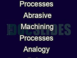 Abrasive Machining Processes  Abrasive Machining Processes  Analogy  Setup  Abrasive vs