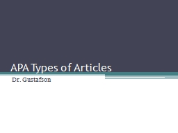 APA Types of Articles