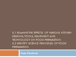 5.1 Examine the effects of various kitchen designs, tools,