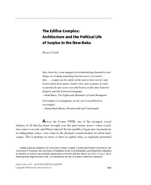501The Edice Complex:Architecture and the Political Life of Surplus i